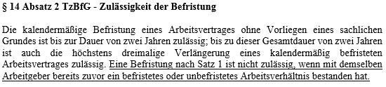 § 14 II TzBfG - Vorbeschäftigungsverbot