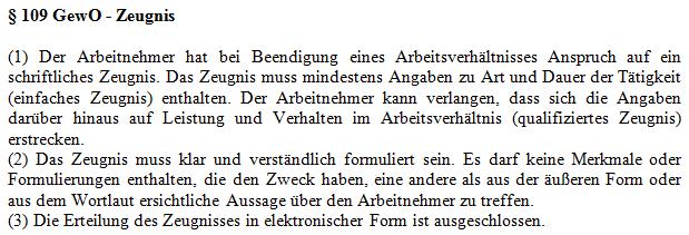 Arbeitszeugnis § 109 GewO