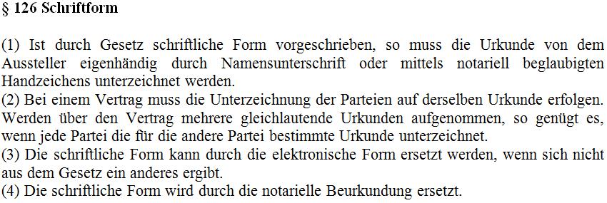 Anforderungen an die Schriftform bei Kündigung