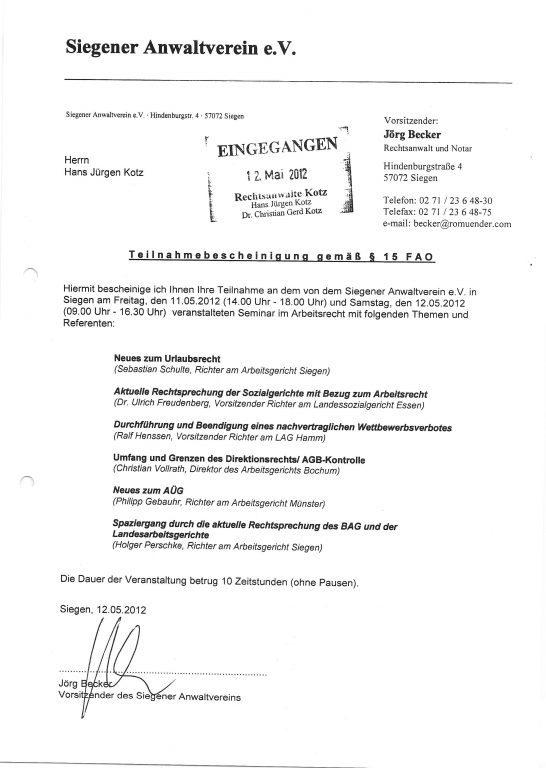 Fortbildung im      Arbeitsrecht