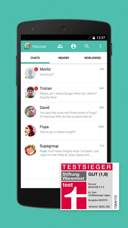 Stiftung Warentest erklärte in der Ausgabe 08/2015 den Hoccer Messenger zum Testsieger aller getesteten Messenger Apps (siehe auch: Stiftung Warentest) Abbildung: Hoccer GmbH