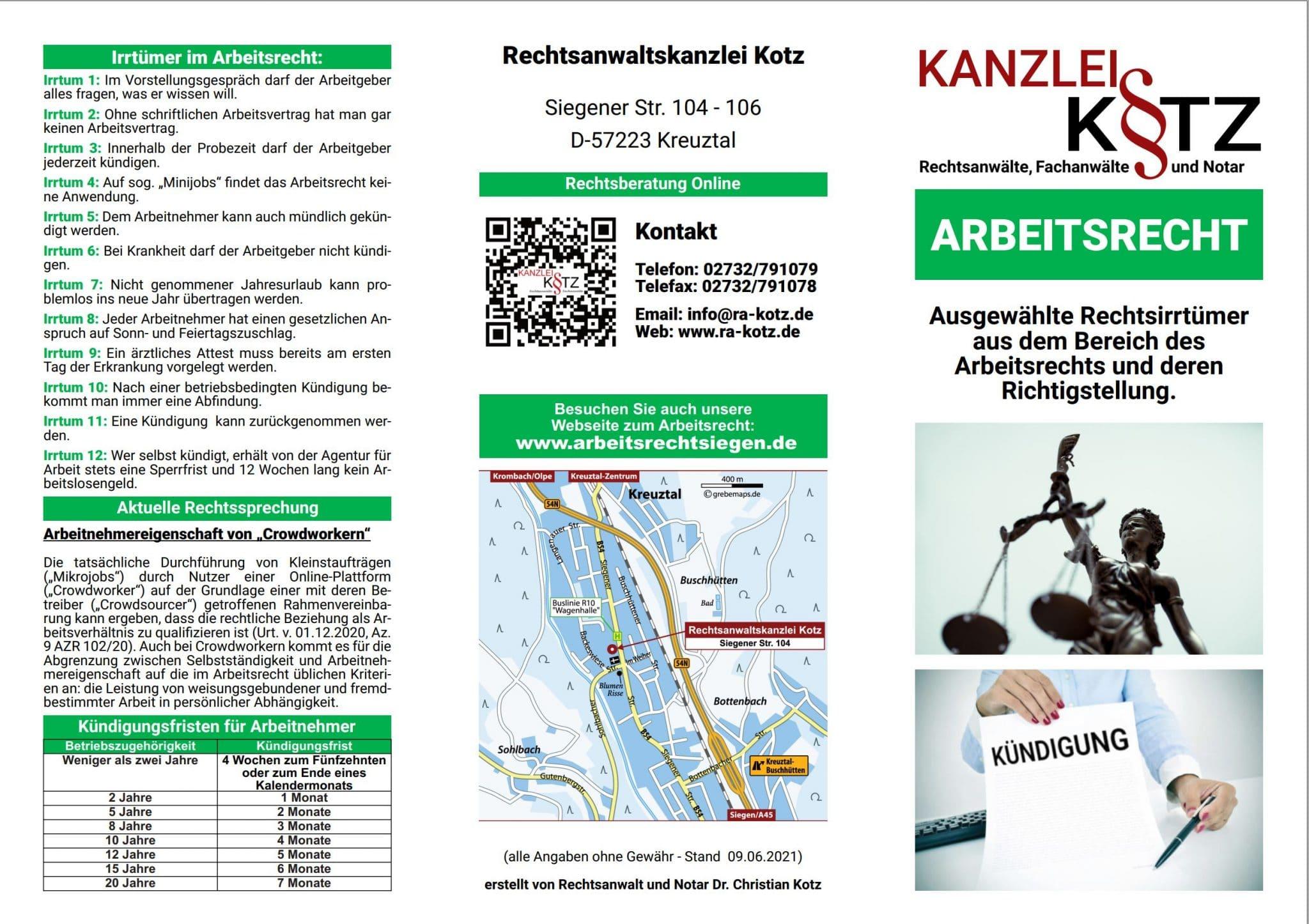 Arbeitsrecht Broschüre 2021