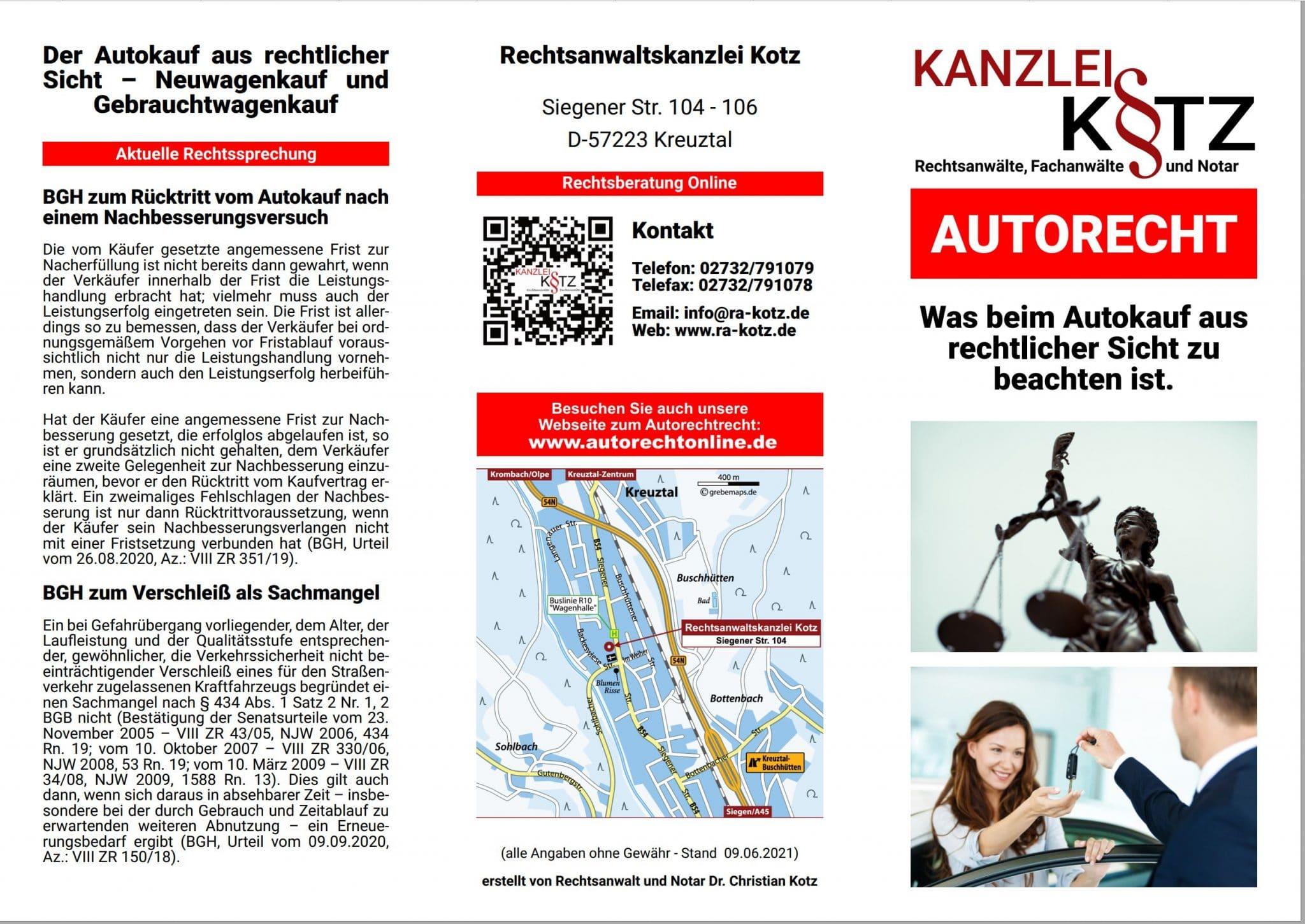 autorecht broschüre 2021