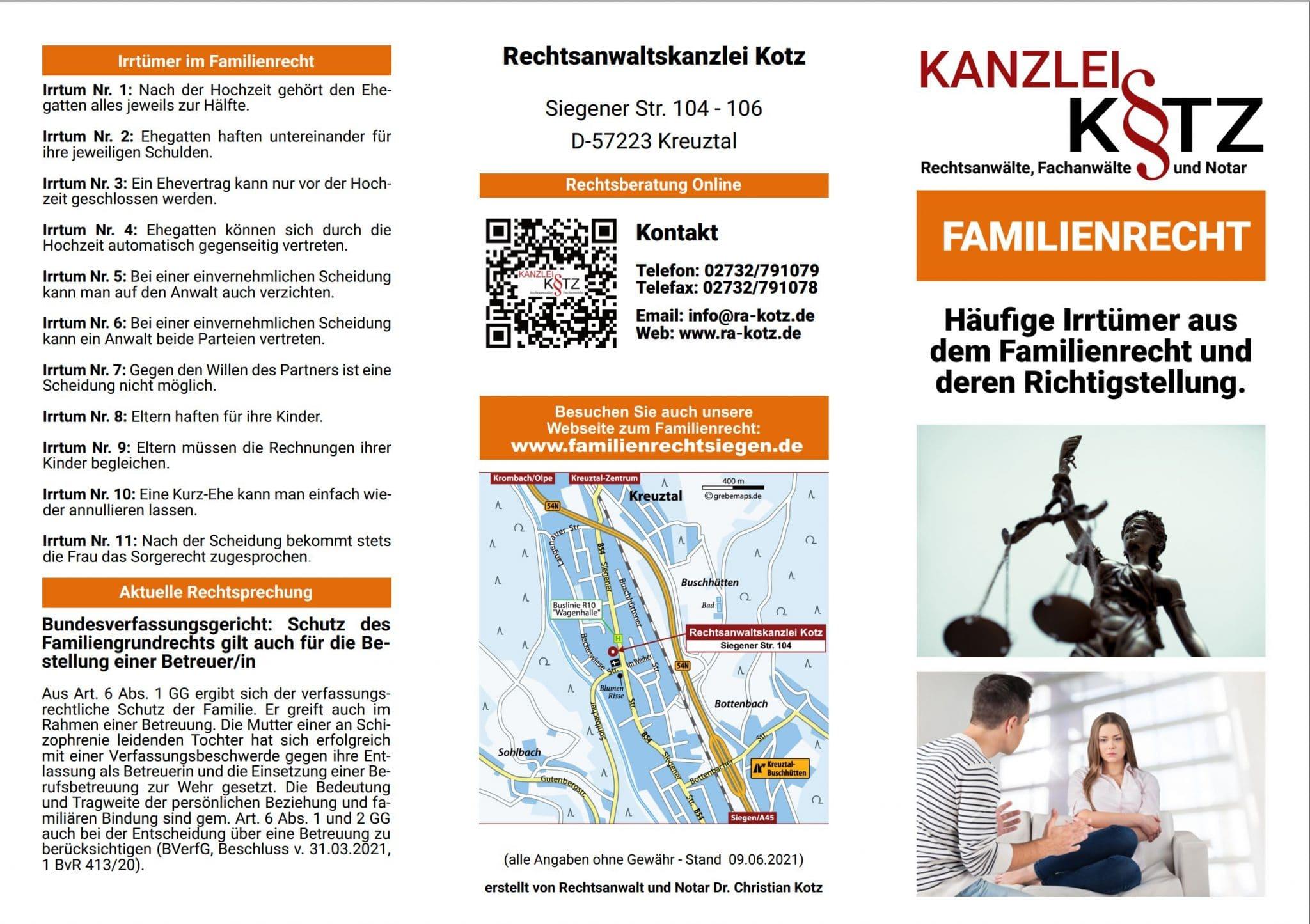 Familienrecht Broschüre 2021