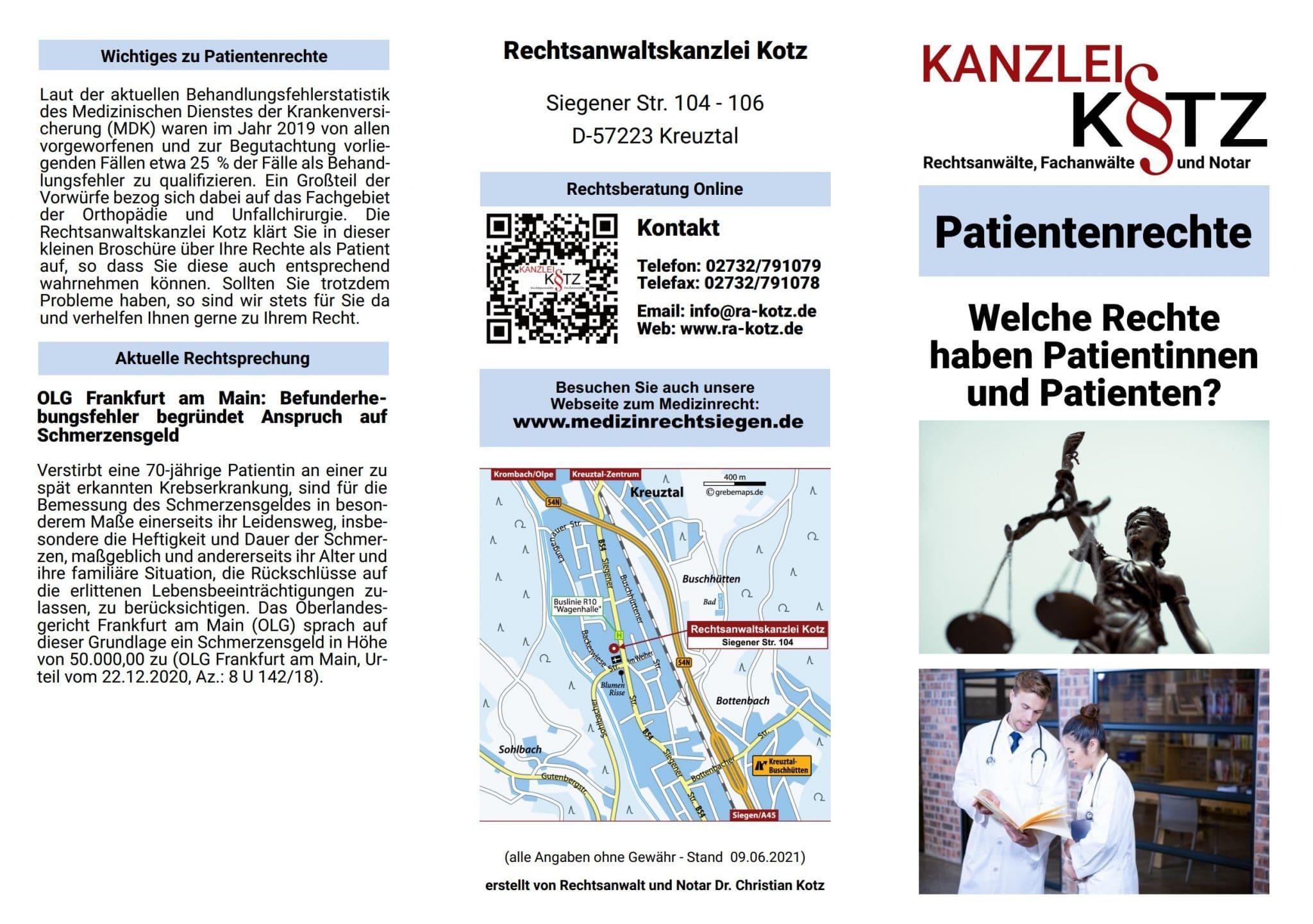 Patientenrechte Broschüre 2021