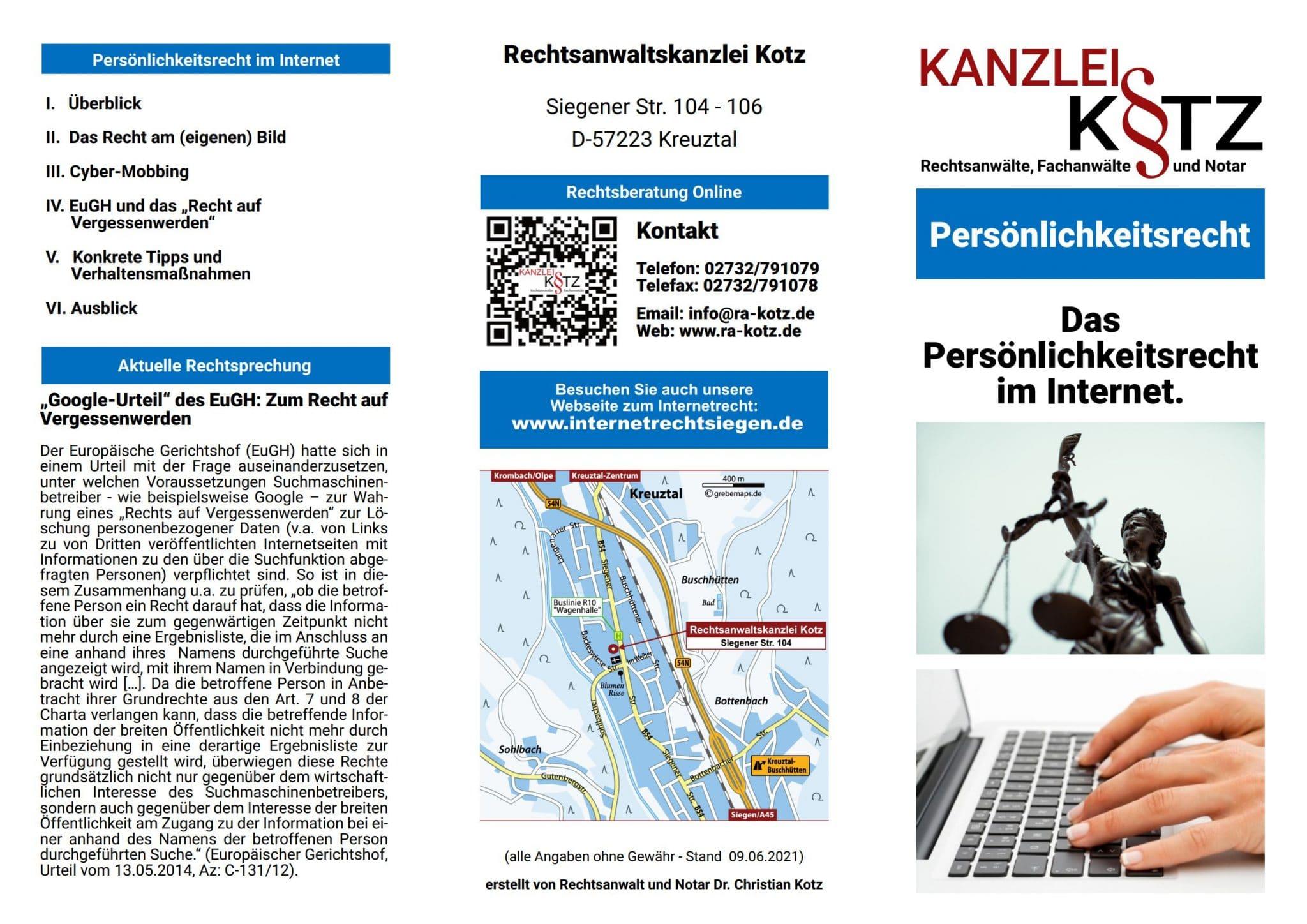 Persönlichkeitsrechte Broschüre 2021