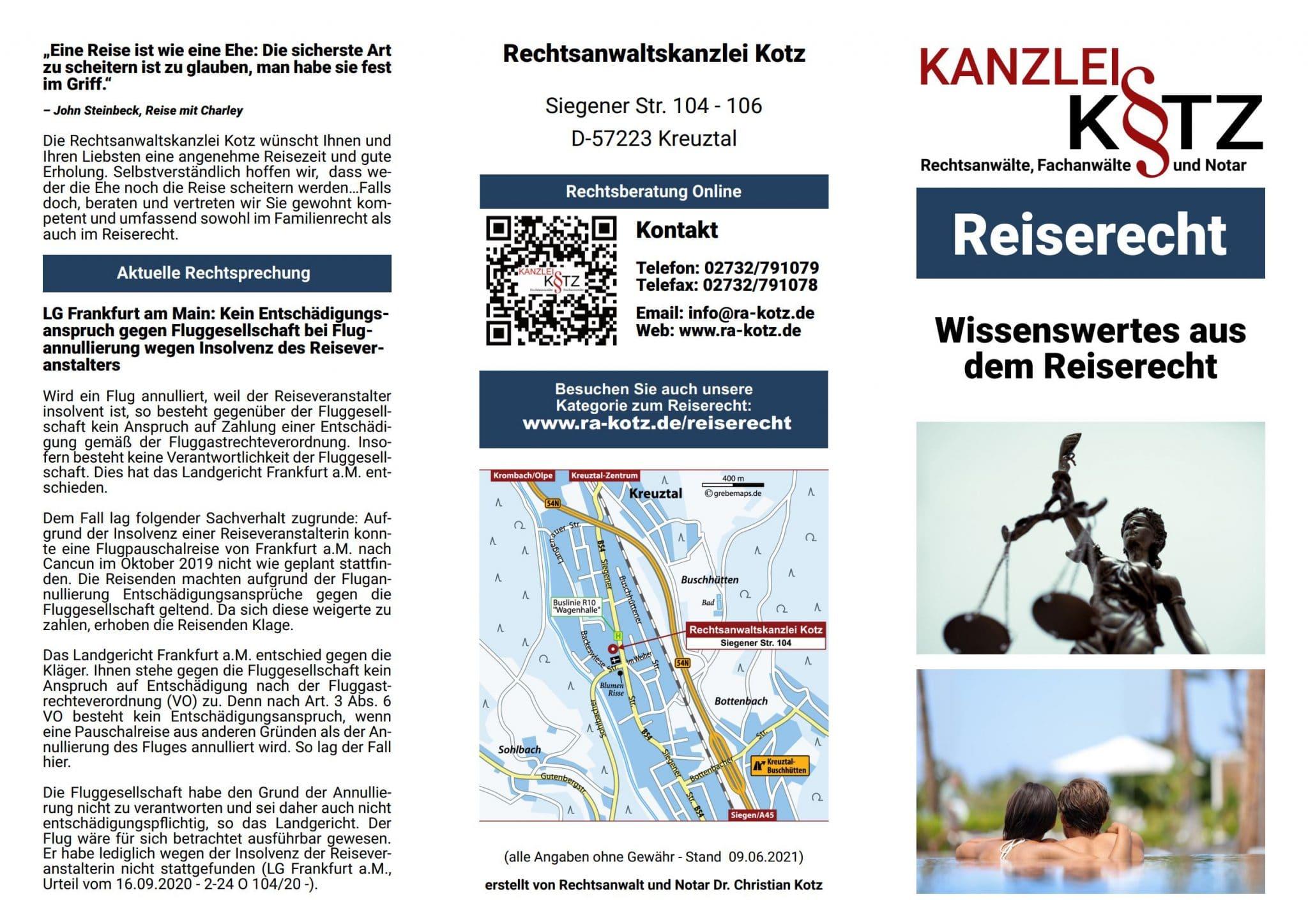 Reserecht Broschüre 2021