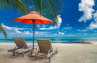 Beautiful,Tropical,Island,Scenery,,Two,Sun,Beds,,Loungers,,Umbrella,Under