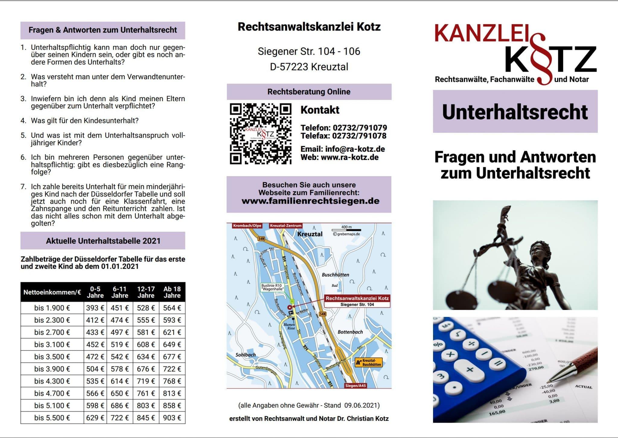 Unterhaltsrecht Broschüre 2021