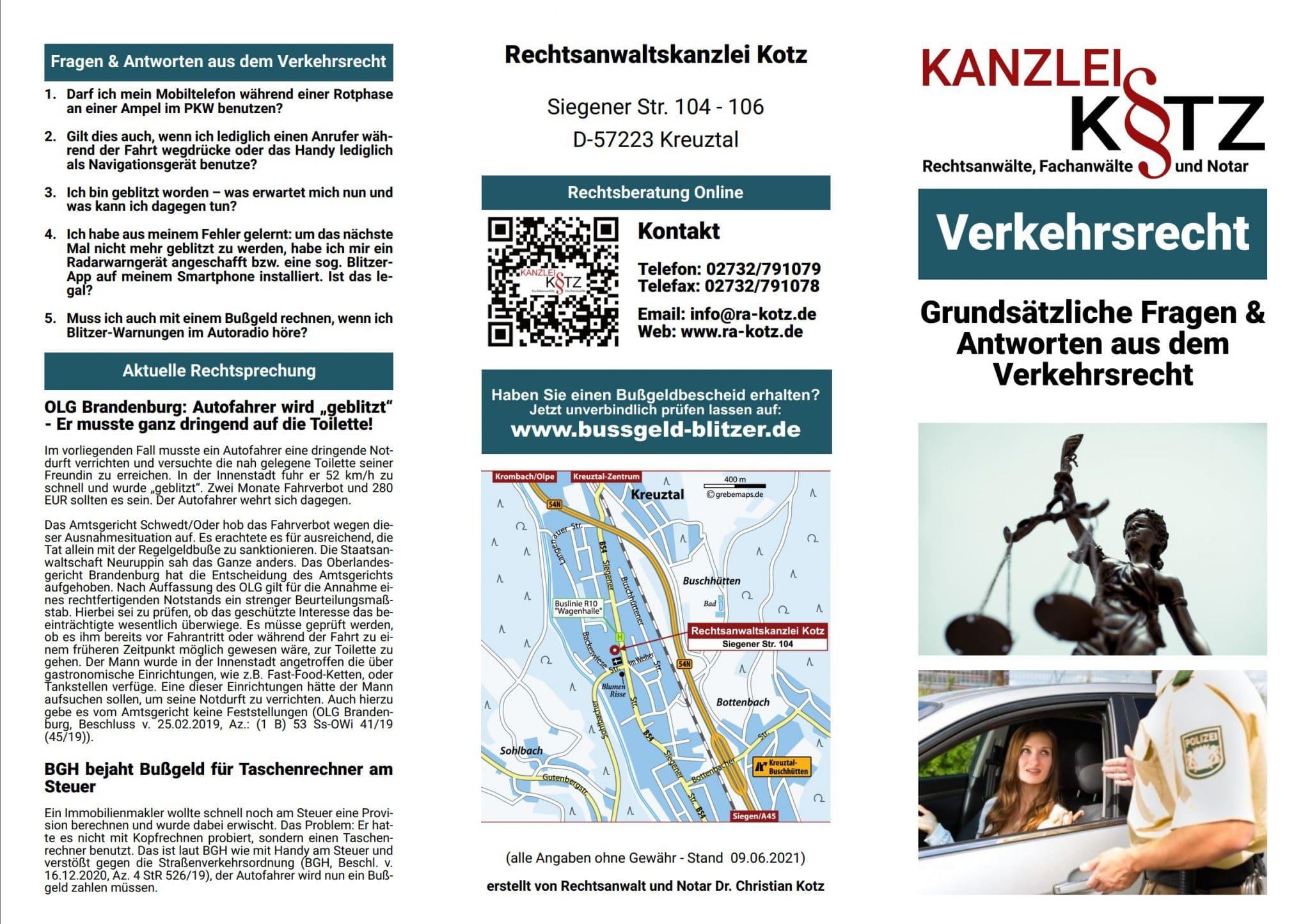 Verkehrsrecht Broschüre 2021